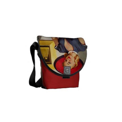 Retro Pin-Up Girl Messenger Bags
