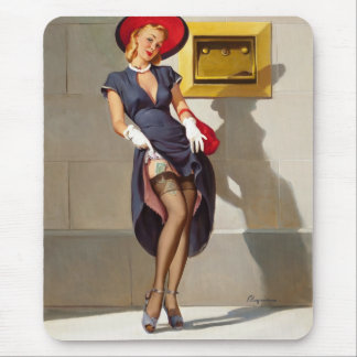 Retro Pin-Up Girl Mouse Pad