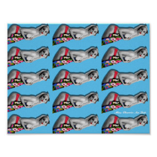 Retro Pin Up Girl Patterned Poster Blue