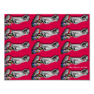 Retro Pin Up Girl Patterned Poster Hot Pink