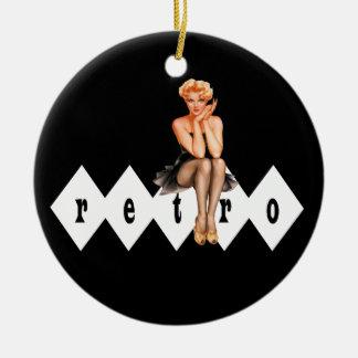 Retro Pin Up Girl Pendant Ornament