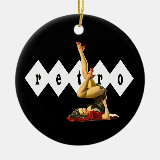 Retro Pin Up Girl Pendant Ornament