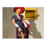 Retro Pin-Up Girl Postcard