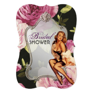 retro pin up girl rose Bridal Shower Tea Party 5x7 Paper Invitation Card
