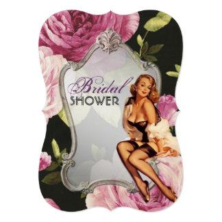 retro pin up girl rose Bridal Shower Tea Party Card