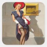 Retro Pin-Up Girl Square Sticker