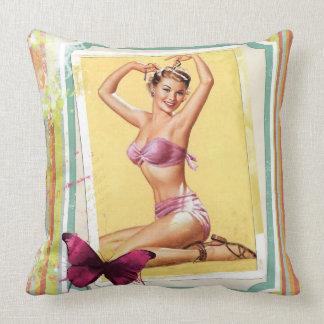 Retro Pin-Up Girl Throw Pillow