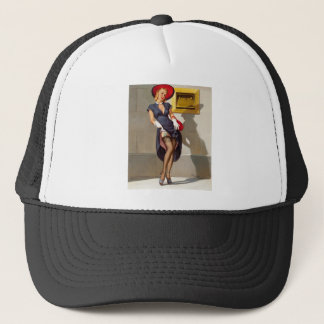 Retro Pin-Up Girl Trucker Hat