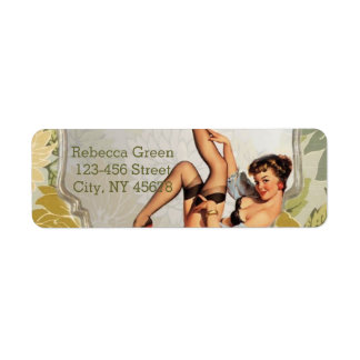 retro pin up girl vintage Bridal Shower Tea Party Label