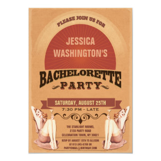 Retro Pin Up Girls Bachelorette Party 5x7 Paper Invitation Card