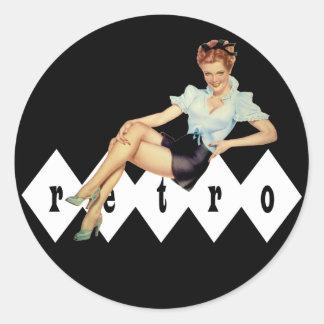 Retro Pin Up Round Sticker