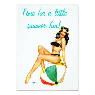Retro Pin Up Summer Fun party invitation