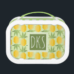 """Retro Pineapples   Monogram Lunch Box<br><div class=""""desc"""">Tropical Fruit   Abstract fruit pattern.  &#169; and &#174; Bigstock&#174; - All Rights Reserved.</div>"""