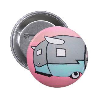 Retro Pink Airstream Trailer Button