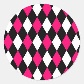Retro Pink and Black Diamonds Classic Round Sticker
