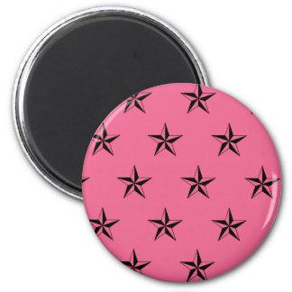 Retro Pink and Black Stars 2 Inch Round Magnet