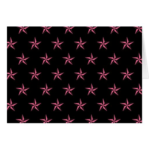 Retro Pink and Black Stars Card