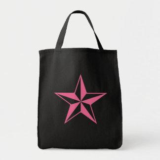 Retro Pink and Black Stars Tote Bag