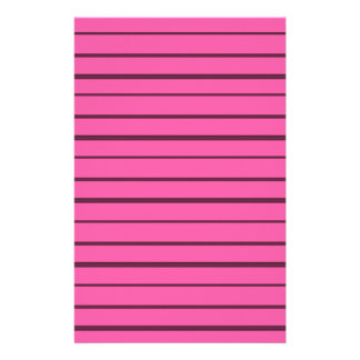 Retro Pink and Black Stripes Stationery