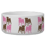 Retro Pink and Brown Paisley Pugs Dog Water Bowl