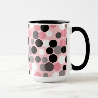 Retro Pink and Gray Polka Dots Mug