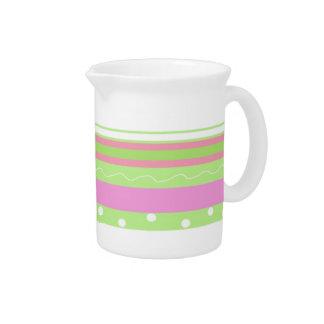Retro Pink and Green Stripe Design Beverage Pitcher