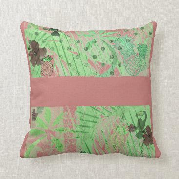 Beach Themed Retro Pink And Green Tropical Island Pillow