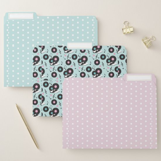 Retro Pink and Mint 50's Diner Pattern File Folder