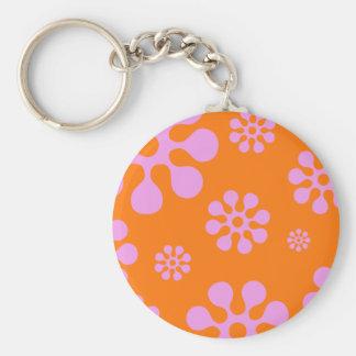 Retro Pink And Orange Hippie Flowers Keychain