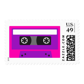 Retro Pink and Purple Cassette Tape Design - Stamp