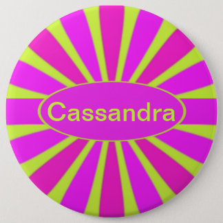 Retro Pink and Purple Petals on Neon Green Button