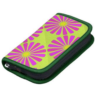 Retro Pink and Purple Petals on Neon Green Organizer