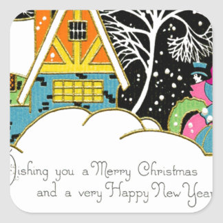 Retro Pink and Turquoise Christmas Houses Square Sticker