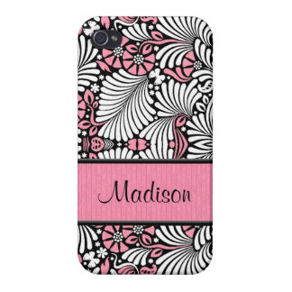 Retro Pink and White Fern Custom iPhone 4/4S Cases