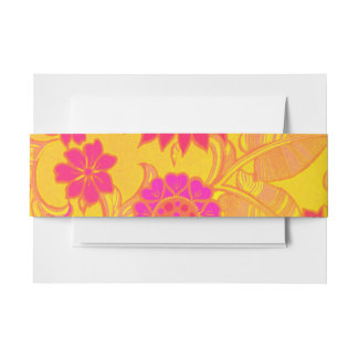 Retro Pink and Yellow Floral Invitation Belly Band