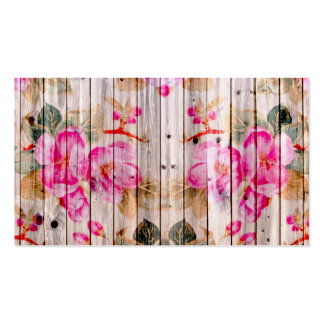 Retro Pink Antique Floral Pattern Vintage Wood Double-Sided Standard Business Cards (Pack Of 100)