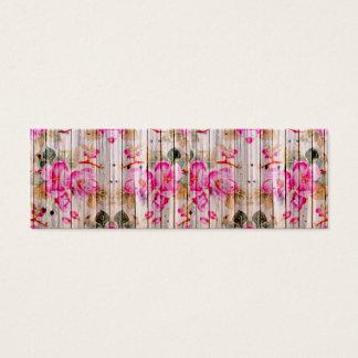 Retro Pink Antique Floral Pattern Vintage Wood Mini Business Card
