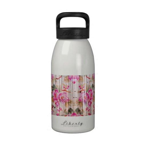 Retro Pink Antique Floral Pattern Vintage Wood Reusable Water Bottle