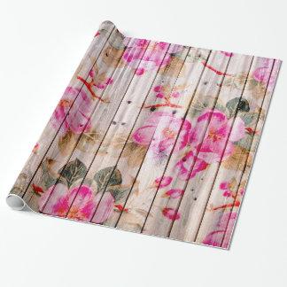 Retro Pink Antique Floral Pattern Vintage Wood Gift Wrap