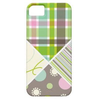 Retro Pink Aqua Blue Plaid Pattern Dots Scribbles iPhone SE/5/5s Case
