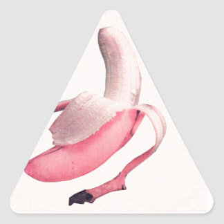 Retro Pink Banana Art Triangle Sticker