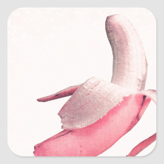 Retro Pink Banana Art Square Stickers