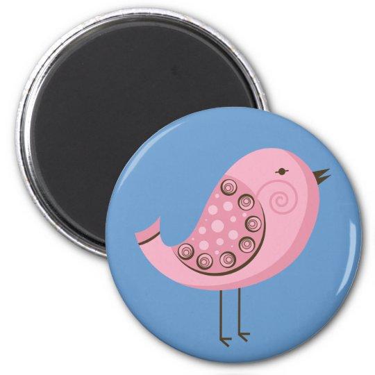 Retro Pink Bird Magnet