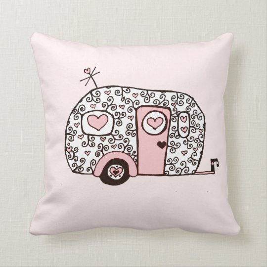 Retro Pink Black And White Glamper Throw Pillow Zazzle Com