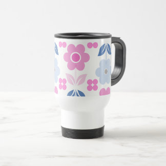 Retro Pink/Blue Flowers Travel/Commuter Mug
