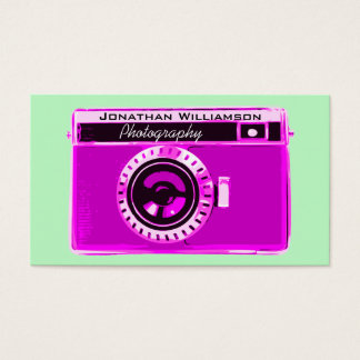 Retro Pink Camera Photography Business Cards