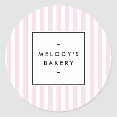 Retro Pink Candy Stripes Bakery Classic Round Sticker