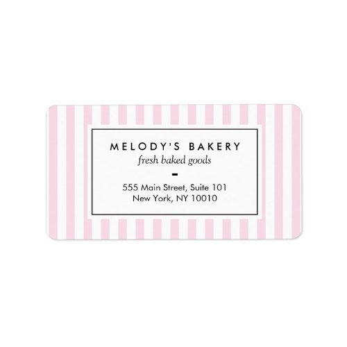 Retro Pink Candy Stripes Bakery Label