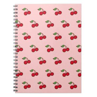 Beach Themed Retro Pink Cherry School Notebook Journal Gift