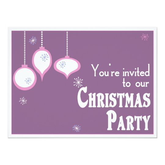 Retro Pink Christmas Invitations